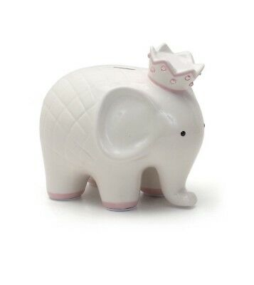 Child To Cherish White With Pink Coco Elephant Piggy Bank