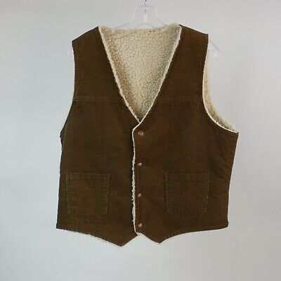 Vintage Western Corduroy Vest L Brown Fleece Lined Snap Front