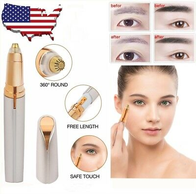 Women Electric Eyebrow Brows Trimmer Facial Face Hair Remover With LED Light US