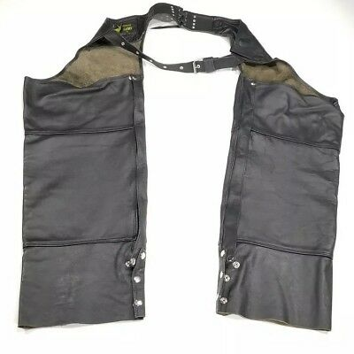 Vintage Black Leather Chaps Motorcycle Riding Adult size Small Zippered Legs