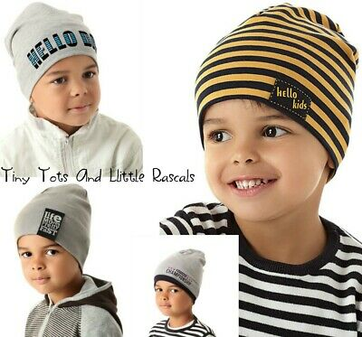 Baby Boy Infant Toddler Cotton Elastic Spring Autumn Hat Beanie 9 mths - 4 years