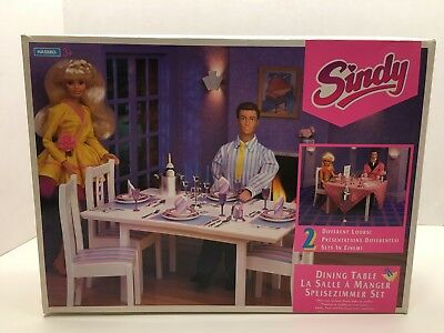 Rare Vintage Sindy 1993 Dining Table Set Hasbro Excellent 1/6 Scale Barbie, Etc.