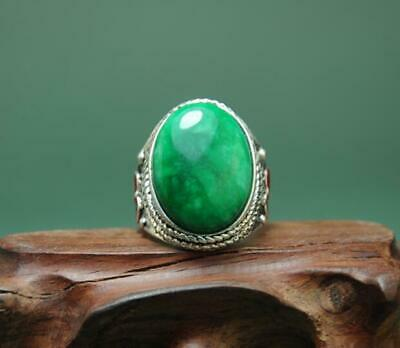 China Old Antique Hand-Made Tibetan Silver Inlay Cloisonn & Green Jade Ring A01