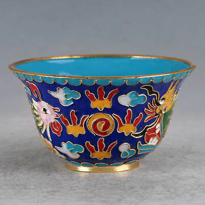 Chinese Cloisonne Hand-made Dragon&Phoenix Bowl JTL1013