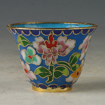 Chinese Exquisite Cloisonne Hand-made Flowers  Bowl R0076