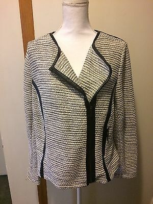 c296a5a67d78a LANE BRYANT 16 New Tweed Moto Style Jacket With Faux Leather Trim ...