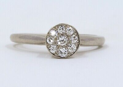 Antique Art Deco 14K White Gold Natural Diamond Cluster Solitaire Ring