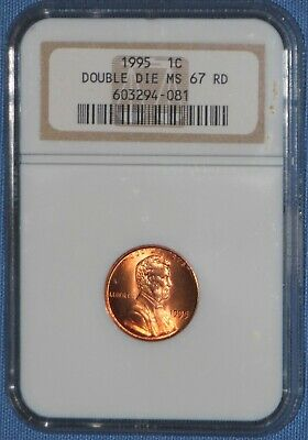 1995 NGC MS 67 RD Lincoln Cent Double Die Obverse  Gem BU DDO MS67 Red Free Ship