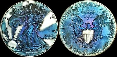 2015 AMERICAN SILVER EAGLE ASE 1oz  MULTI COLOR TONED COIN IN HIGH BU GRADE