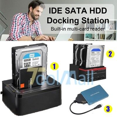 External Triple SATA IDE HDD Docking Station 2.5''/3.5''Hard Drive Card Reader