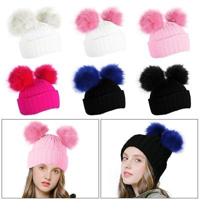 9c796401897055 Womens Girls Winter Warm Chunky Knit Cap Double Fur Pom Pom Ball Cute Beanie  Hat