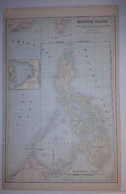 1900 Philippine Islands Peerless Atlas Map 13 inch x 22 inch Color M13