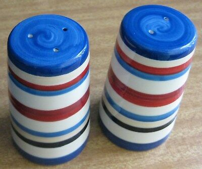 Pair Of Salt & Pepper Shakers - Blue, Red And White Striped