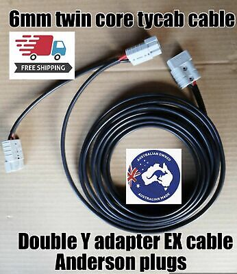 10 m Double Y Adaptor with 50 amp Anderson style Plug  twin Tycab auto 6mm Cable