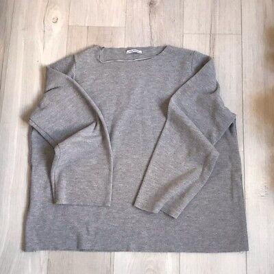 vendita calda online 5b250 5a7d5 ZARA GRAY OVERSIZED Drawstring Women's Sleeves Knit Pullover Sweater Top  Size L