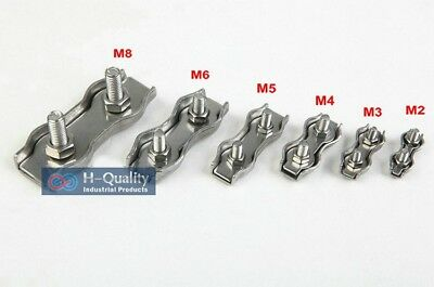 STAINLESS STEEL DUPLEX WIRE ROPE CLIP metal cable clamp grip connecting 2-8mm