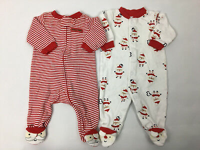 43526475cbfc CARTERS Baby Boys 3 Months Santa Christmas Cotton Sleepers Pajamas Clothes  Lot