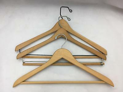 Lot of 3 Vintage Wood & Heavy Wire  Department Store Clothes Hangers w Wood Bar