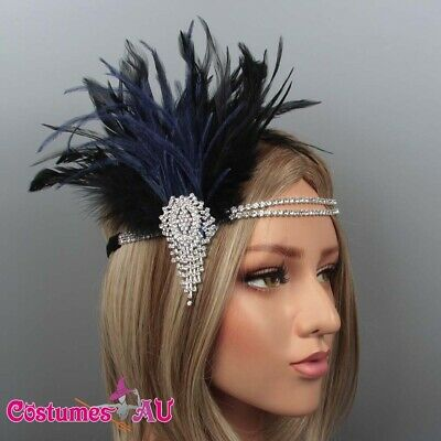 1920s Headband Blue Feather Bridal Black Gatsby 20s Gangster Flapper Headpiece