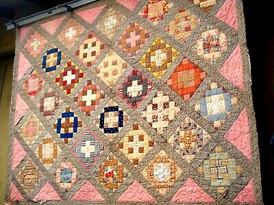 Antique Victorian Vtg late 1800's Chimney Sweep QUILT calico