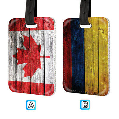 Canada Colombia Flag Leather Luggage Tag Silver Glitter On Back