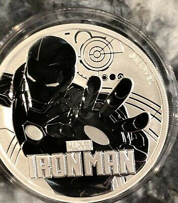 2018 Tuvalu Iron Man Marvel Comics 1 oz .999 Silver BU Coin In Capsule