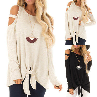 Fashion Womens Long Sleeves Pure Color Strapless Bandage Tops Easy Casual Blouse