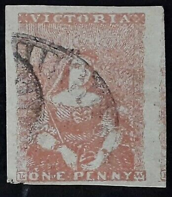 Rare 1850- Victoria Australia 1d Pale dull red Brown imperf  Half Length stamp