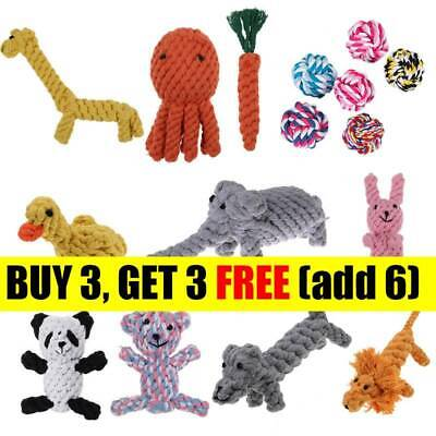 Dog Teddy Chew Knot Toys Pet Puppy Teeth Bear Braided Tough Strong Rope CB