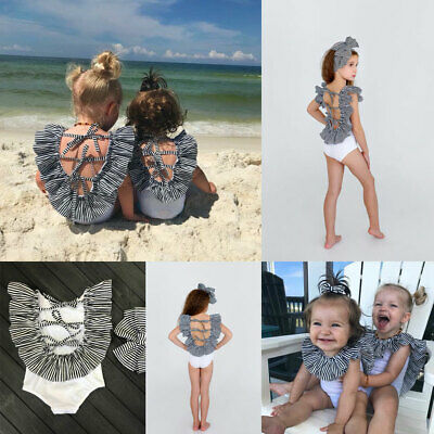 Summer Kids Baby Girls Swimsuit Swimwear Bikini Bathing Suit Flounce Beachwear