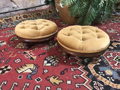 Pair Antique Lounge Chair Footstools~Ottomans Sofa Stool~Pouffe
