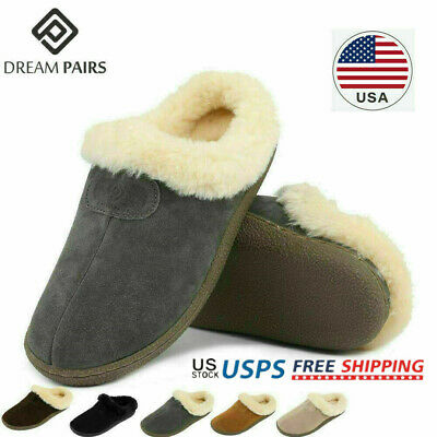 DREAM PAIRS Women's Sheepskin Fur Winter House Slippers Suede Leather Shoes