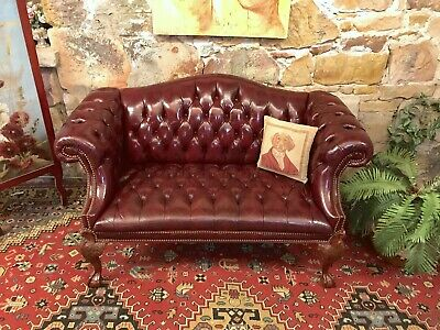 Vintage 2 Seater Chesterfield Leather Wingback Lounge Chair~~RARE