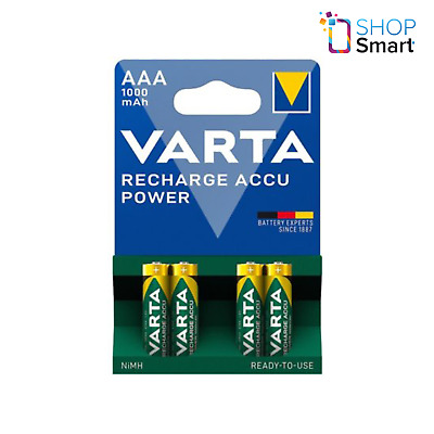 4 VARTA RECHARGE ACCU POWER AAA HR03 BATTERIES 1.2V 1000mAh NiMH MICRO NEW