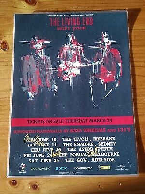 THE LIVING END - SIGNED AUTOGRAPHED 2016 Australia SHIFT Tour Poster - Laminated