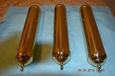GRANDFATHER CLOCK POLISHED Brass ROUND WEIGHT SHELLS ONLY SET OF 3