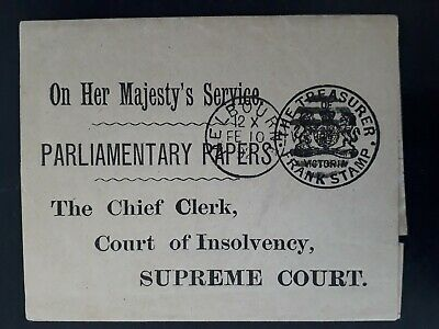 Rare1892 Victoria Australia Treasurer Frank stamped Parliamentary papers wrapper