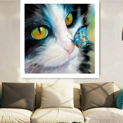 Art Cat Butterfly Crystal Dining Room Decor Mosaic Painting Kit Cross Stitch CB