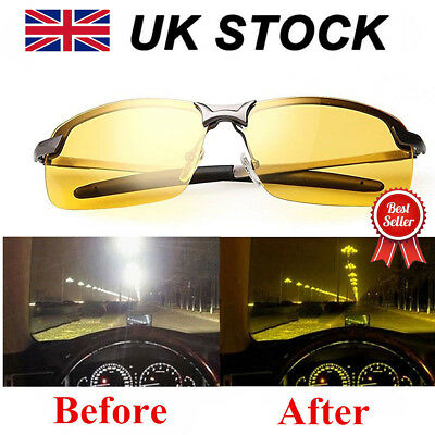 7d53ebe6a77 Night Driving Glasses HD Anti Glare Vision Polarized Tinted Unisex Yellow  Lens