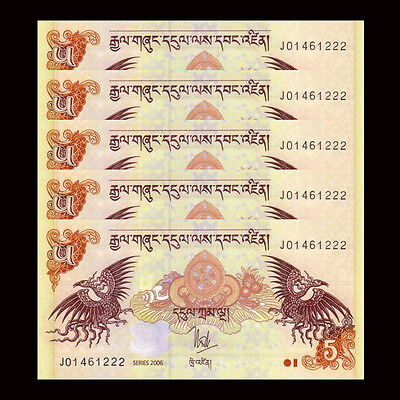 Lot 5 PCS, Bhutan 5 Ngultrum, P-28, 2006-2015, UNC, 1/20 Bundle, Banknotes