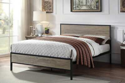 Modern Metal & Wooden Bed Frame Industrial Farmhouse Style Double King Size