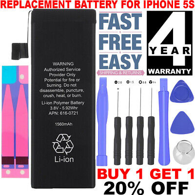 Internal Replacement Battery for iPhone 5s 5c 1560mAh Li-ion + 9piece Free Tools