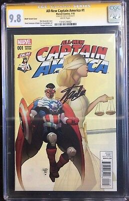 All New Captain America #1 CBLDF Variant CGC SS 9.8 Signed Stan Lee