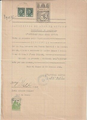 LIBYA , Old Document of Tripoli Municipality Revenue Stamp , 2.50 MAL , 1945