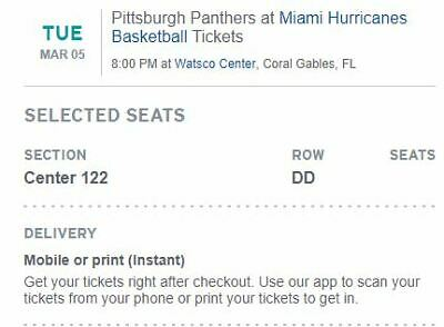 4 Tickets Miami Hurricanes vs. Pittsburgh Panthers (Tuesday MAR 05)