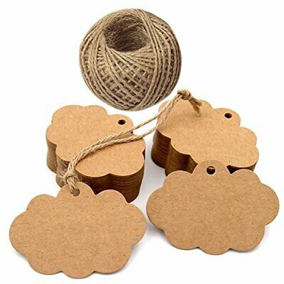 G2PLUS Paper Tags, Gift Tags with String, Brown Craft Tags, Price Tags with 100