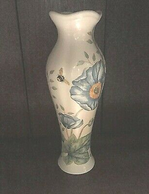 Lenox Butterfly Meadow Bud Vase White Blue Floral 7 1/4""