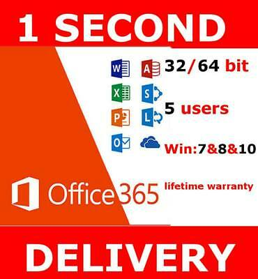 INSTANT Microsoft Office 365 Pro Plus 2019 5 devices/5tb OneDrive-multilingual