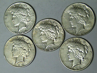 Lot of 5 Peace Silver Dollars 1922-D 1922-S 1923-S (ja21)