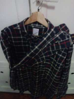 Brooks Brothers Winter Shirt B, White, Red and Cream Stripes Bearly Used,